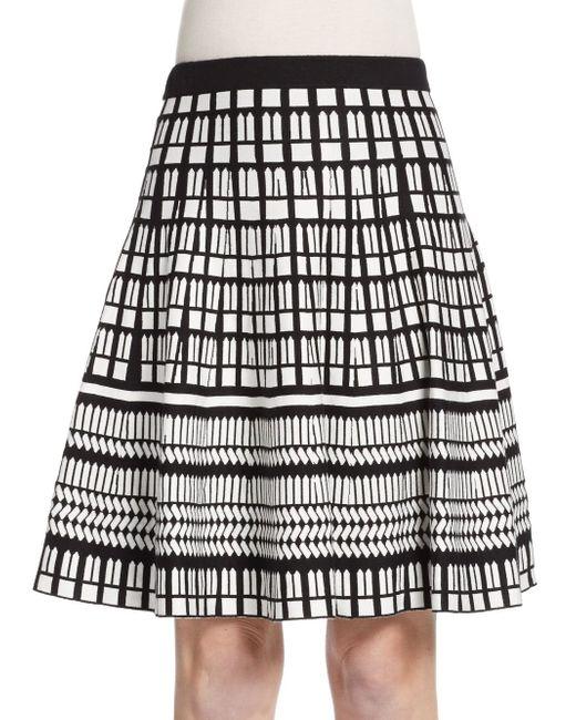 Saks Fifth Avenue Black Label   Black Flared Geo-pattern Knit Skirt   Lyst