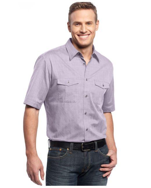 Alfani big and tall short sleeve warren shirt in purple for Big n tall shirts