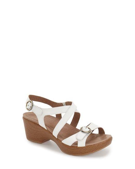 dansko julie platform sandals in white black grain