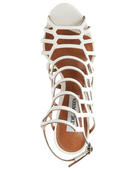 Steve Madden | Black Slithur Leather Caged Heeled Sandals | Lyst