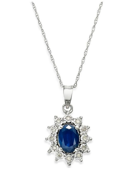Macy's | Blue Sapphire (9/10 Ct. T.w.) And Diamond Accent Pendant Necklace In 10k White Gold | Lyst