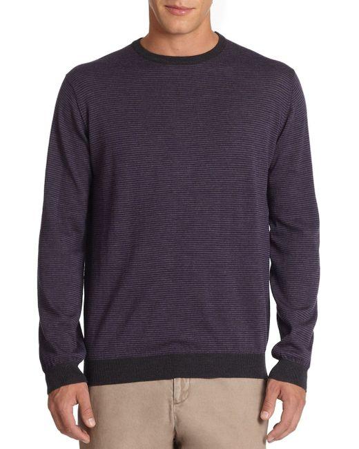 Saks Fifth Avenue | Gray Mini Stripe Wool Sweater for Men | Lyst