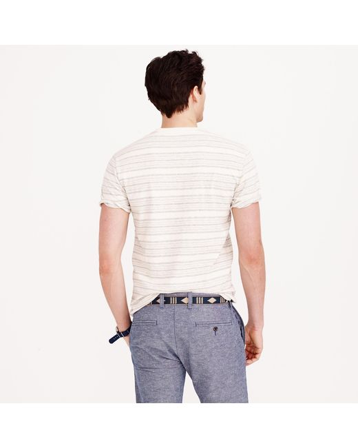J.Crew | Gray Textured Cotton T-shirt In Multistripe for Men | Lyst