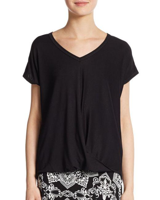 Bobeau | Black Draped Jersey Top | Lyst