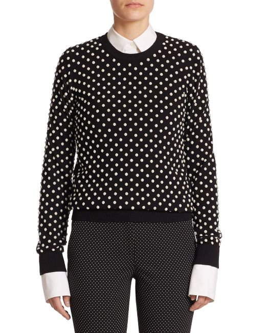 Michael Kors | White Pearlescent Hand-embroidered Sweater | Lyst