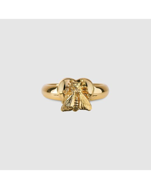 Gucci   Metallic Ring With Bee Heart Motif   Lyst