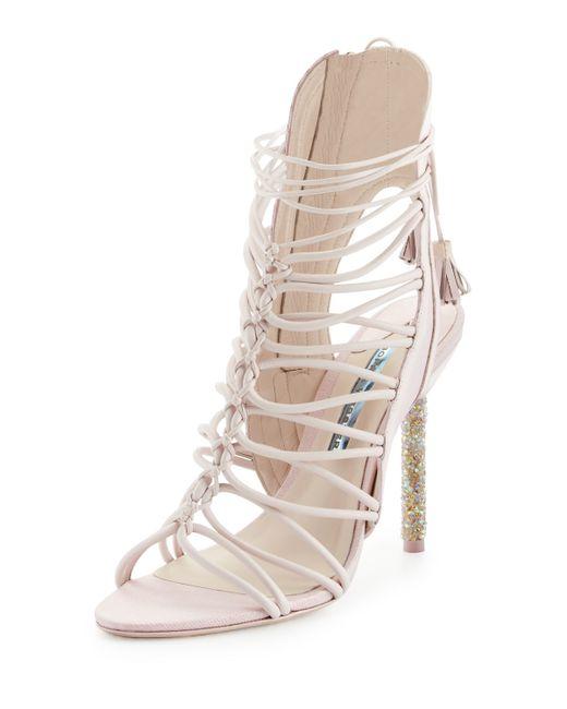 Sophia webster lacey crystal bridal sandals in beige for Sophia webster wedding shoes