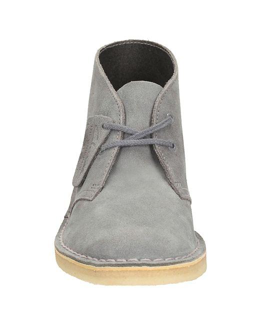 clarks originals low heeled desert boots in blue navy
