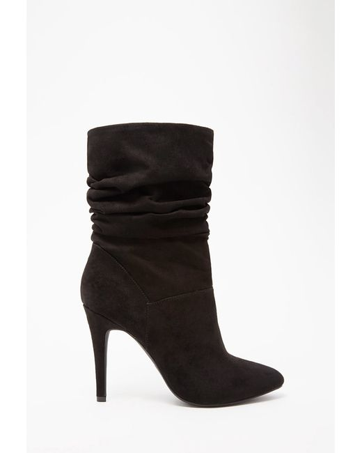 Forever 21 | Black Slouchy Faux Suede Booties | Lyst