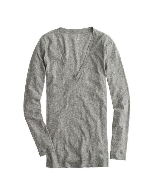 J.Crew | Gray Vintage Cotton Long-sleeve V-neck T-shirt | Lyst