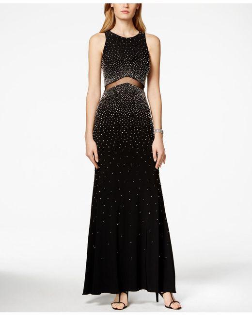 xscape sleeveless beaded illusion dress in black black