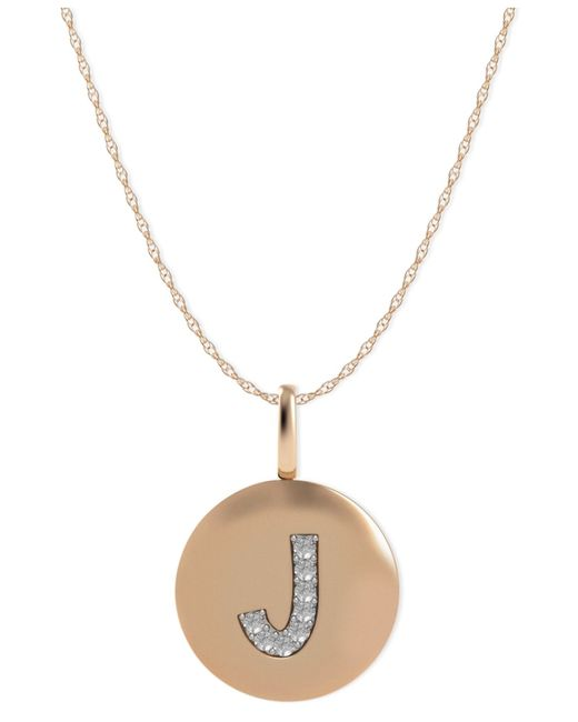 Macy's | Multicolor 14k Rose Gold Necklace, Diamond Accent Letter I Disk Pendant | Lyst