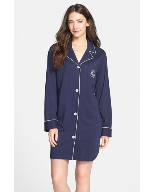 Lauren by Ralph Lauren | Blue Knit Nightshirt | Lyst