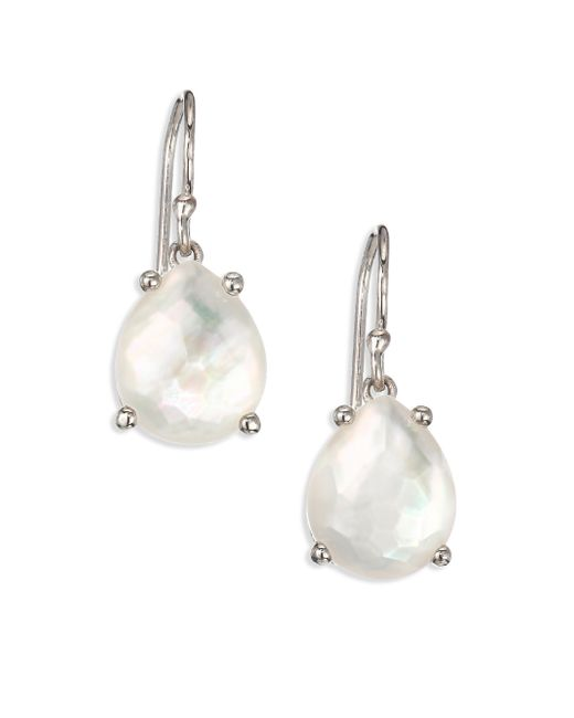 Ippolita | Metallic Rock Candy Mother-of-pearl, Clear Quartz & Sterling Silver Pear Drop Earrings | Lyst