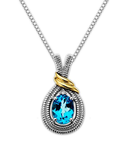 Lord & Taylor | Sterling Silver Necklace With 14kt. Yellow Gold Blue Topaz And Diamond Pendant | Lyst