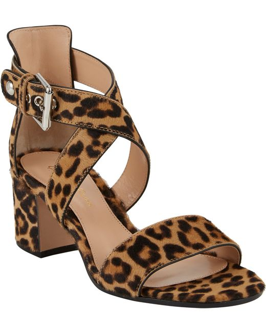 Open Toe Chunky Heel Leopard Print Shoes