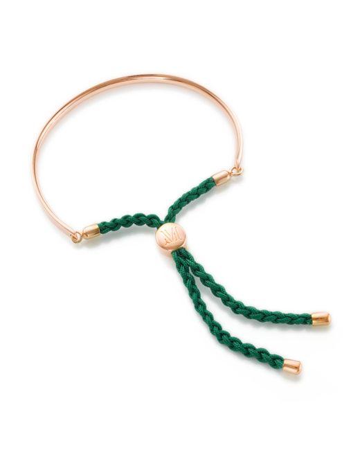 Monica Vinader | Pink Rose Gold Vermeil Green Cord Fiji Bracelet | Lyst
