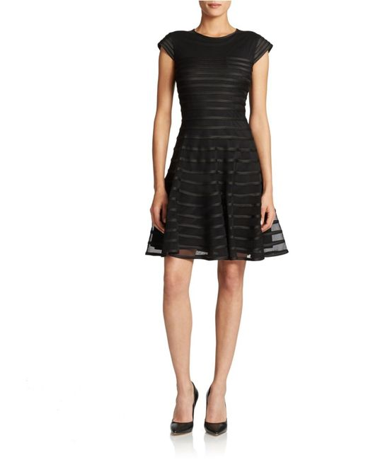 Betsy & Adam | Black Striped Mesh Fit And Flare Dress | Lyst
