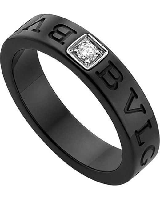 BVLGARI | - Black-ceramic And Diamond Ring | Lyst