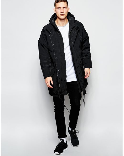 Asos Oversized Parka Jacket In Black For Men