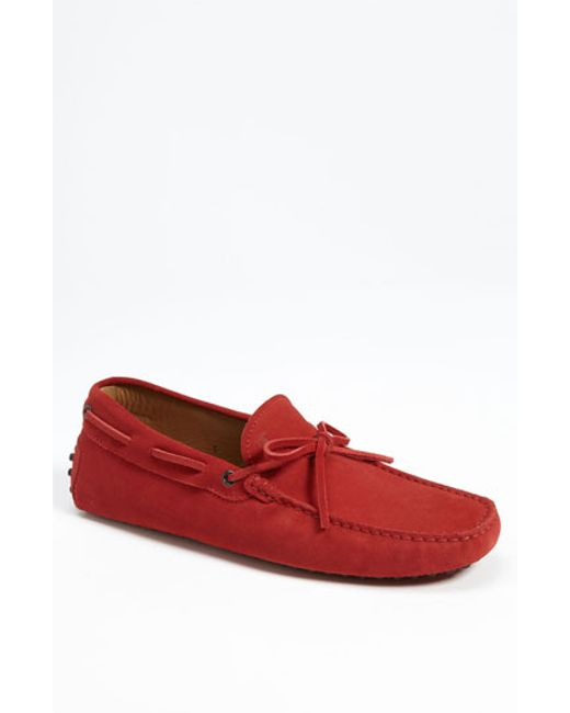Tod's | Red Gommini Tie Front Driving Moccasin for Men | Lyst