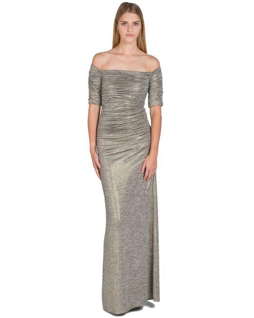 Badgley Mischka   Metallic Foil Jersey Ruched Sleeve Evening Gown   Lyst