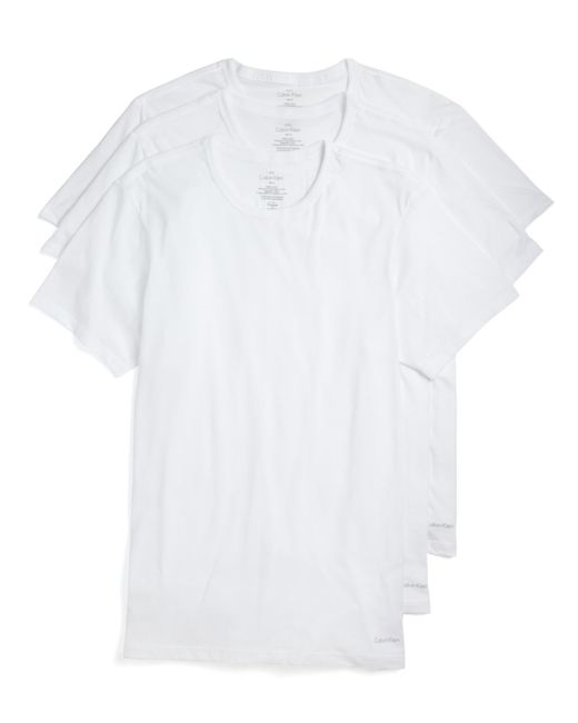 Calvin Klein | White Cotton Classics Slim Fit Crew Neck Tees, Pack Of 3 for Men | Lyst