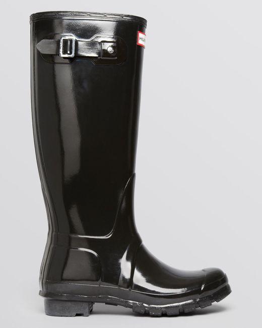 Hunter Original Tall Gloss Rain Boots in Gray (Graphite ...