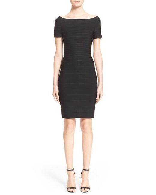 Hervé Léger | Black 'carmen' Off The Shoulder Bandage Dress | Lyst