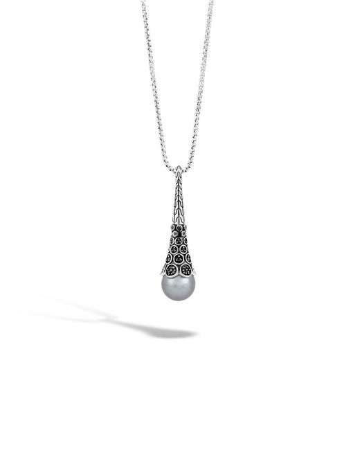 John Hardy | Metallic Pendant Necklace With Pearl And Black Sapphire | Lyst