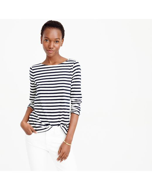 J.Crew | Blue Striped Cotton T-Shirt | Lyst