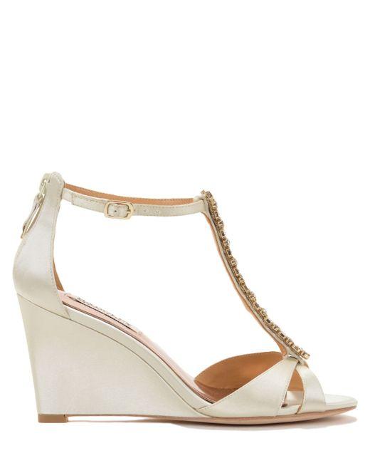 Badgley Mischka | White Romance Satin Wedge Evening Shoe | Lyst