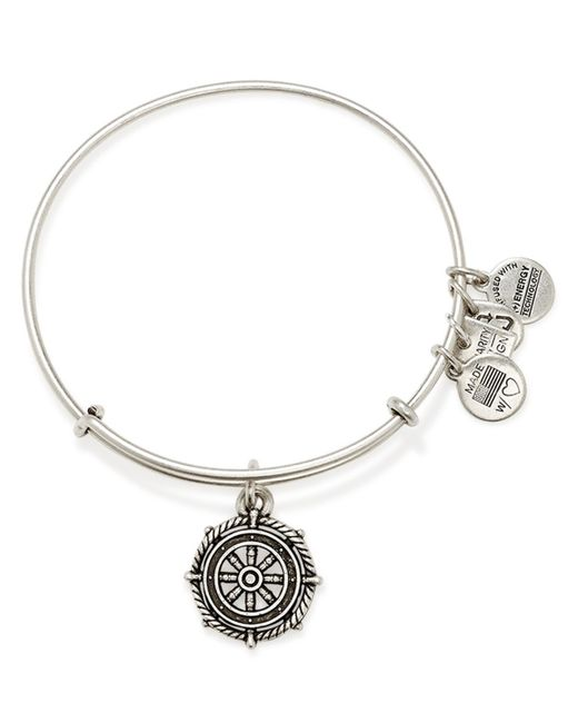 ALEX AND ANI | Silver Take The Wheel Expandable Wire Bracelet | Lyst