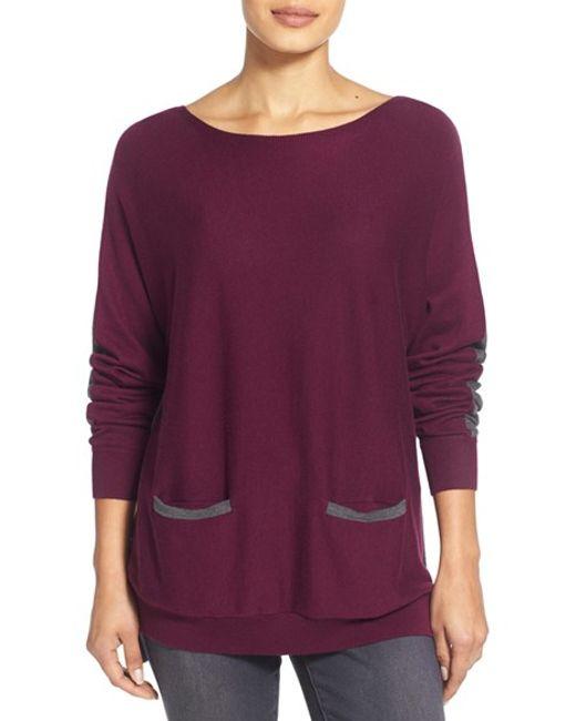 Vince Camuto   Purple Colorblock Boatneck Sweater   Lyst