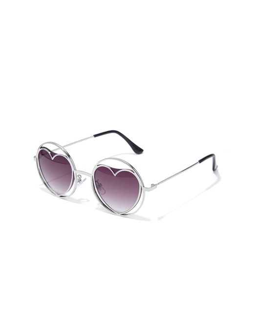 Forever 21 | Metallic Cutout Heart Round Sunglasses | Lyst