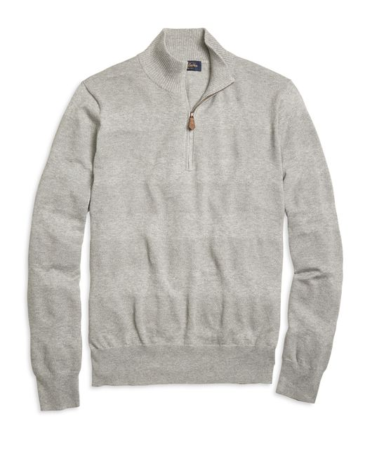 Brooks Brothers | Gray Textured Stripe Half-zip Sweater for Men | Lyst