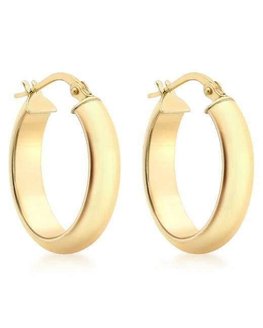Ib&b   Metallic 9ct Yellow Gold Polished Oval Creole Earrings   Lyst