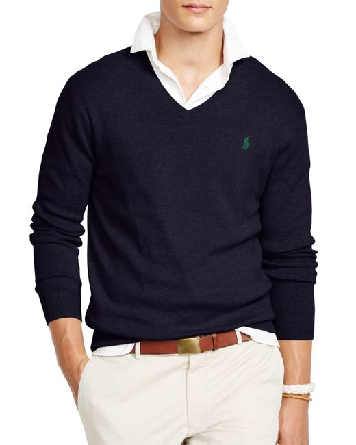 Polo Ralph Lauren | Blue Pima V-neck Sweater for Men | Lyst