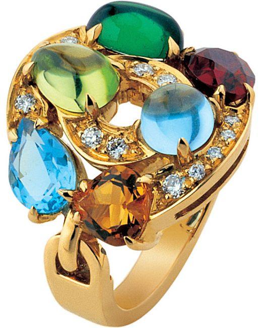 BVLGARI | Astrale 18ct Yellow-gold, Blue Topaz, Green Tourmaline, Peridot, Citrine Quartz, Rhodolite Garnet And Pavé Diamond Ring | Lyst