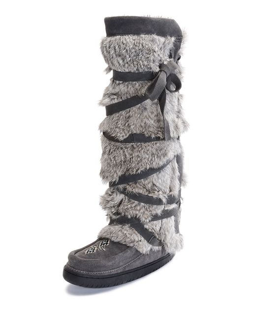 Manitobah Mukluks Rabbit Fur Tall Wrap Mukluk Boot In Gray