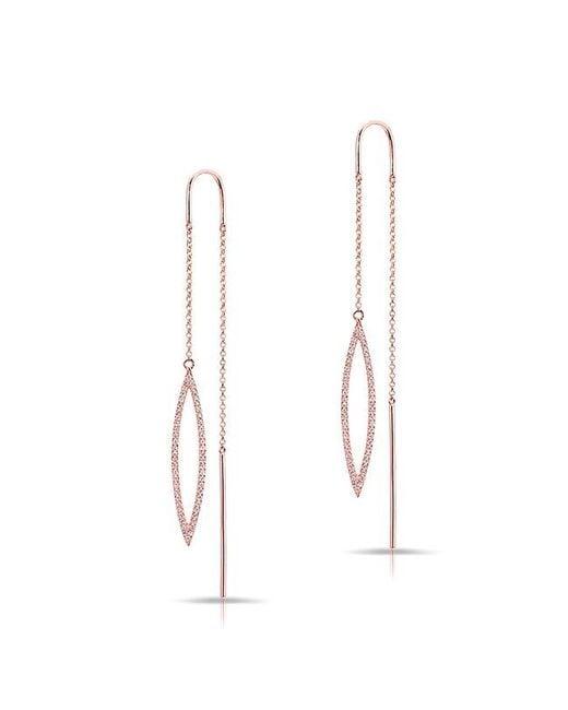 Anne Sisteron - Metallic 14kt Rose Gold Diamond Open Monaco Threader Earrings - Lyst
