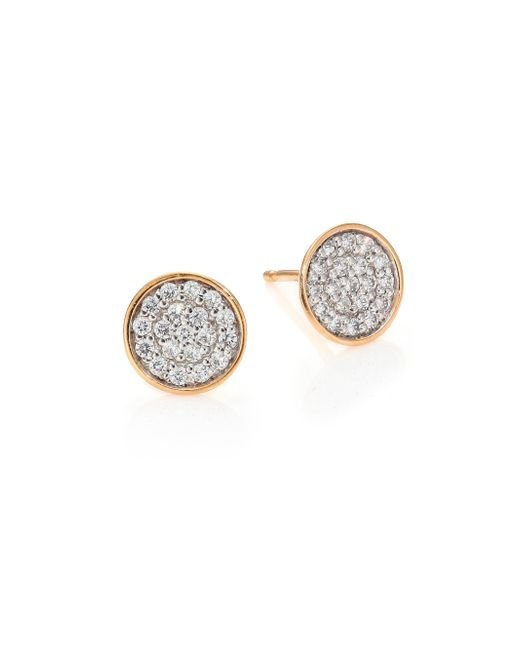 Ginette NY | Pink Sequins Diamond & 18k Rose Gold Stud Earrings | Lyst