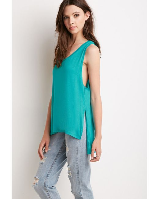 Forever 21 | Green Side-slit Muscle Tee | Lyst
