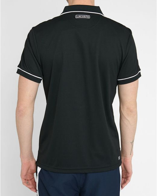 lacoste black pr short sleeve polo shirt with white sleeve. Black Bedroom Furniture Sets. Home Design Ideas