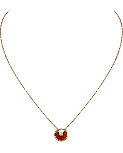 Cartier | Red Amulette De 18ct Pink Gold, Carnelian And Diamond Necklace | Lyst