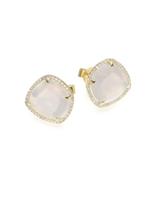 Meira T | Metallic Chalcedony, Mother-of-pearl, Diamond & 14k Yellow Gold Doublet Stud Earrings | Lyst