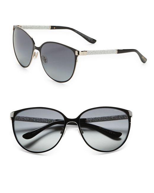 Jimmy Choo | Black 60mm Round Sunglasses | Lyst
