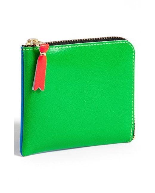 Comme des Garçons | Green 'super Fluo' Half Zip French Wallet for Men | Lyst