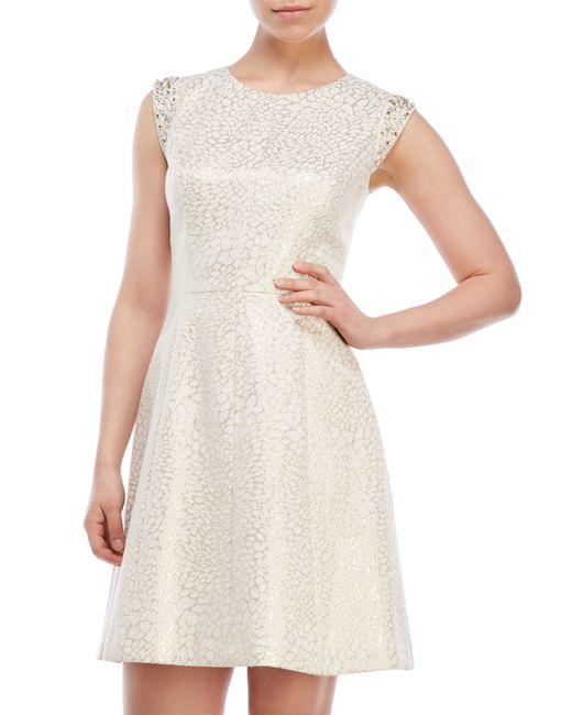 Vince Camuto Metallic Jacquard Cap Sleeve Dress In White