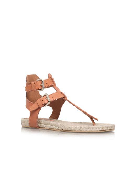 Kurt Geiger | Brown Marla Flat Sandals | Lyst